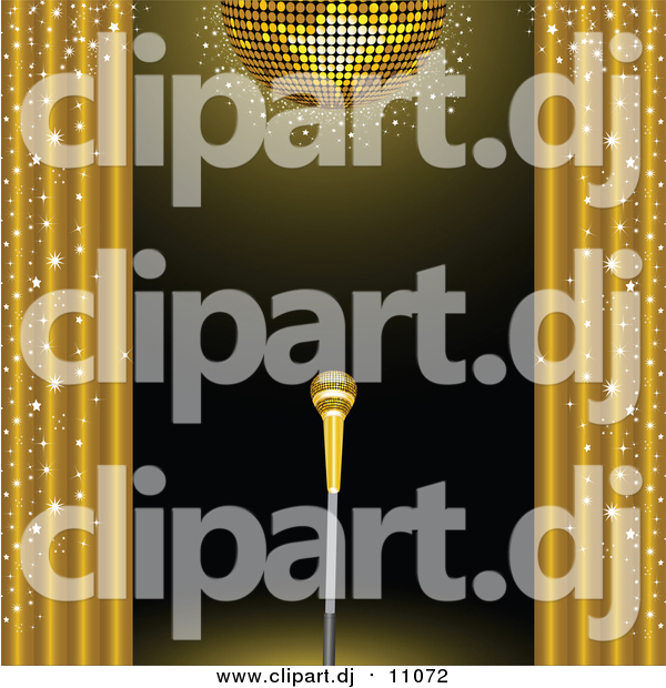 Vector Clipart of a 3d Golden Microphone on a Stand on a Stage, Framed by Golden Sparkling Curtains Under a Gold Disco Ball