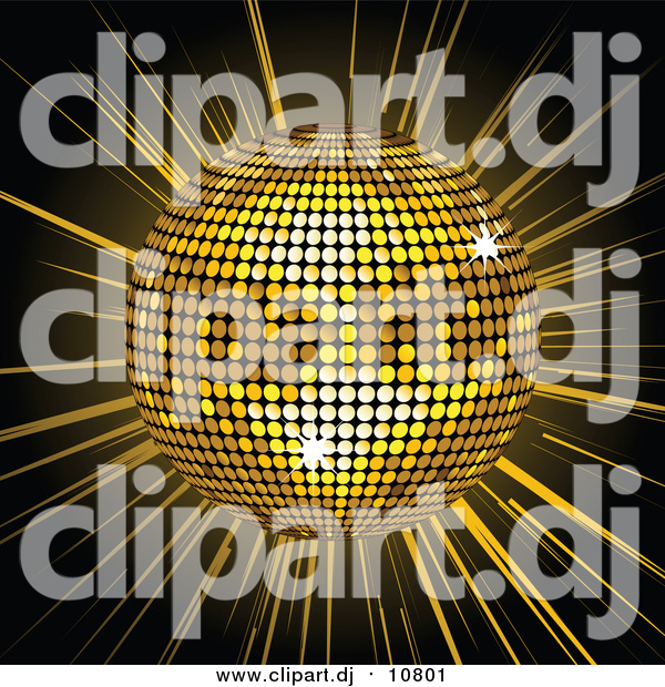 Vector Clipart of a 3d Golden Shiny Disco Ball Spinning over a Bursting Black and Yellow Background