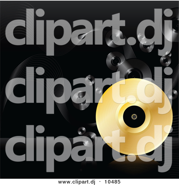 Vector Clipart of a 3d Golden Vinyl Record Rolling on a Reflective Surface over a Black Background with Black Records