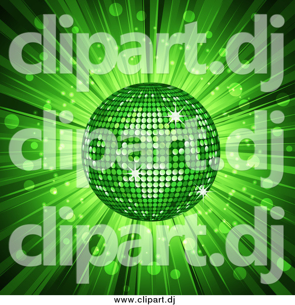 Vector Clipart of a 3d Green Disco Ball and Ray Burst Background