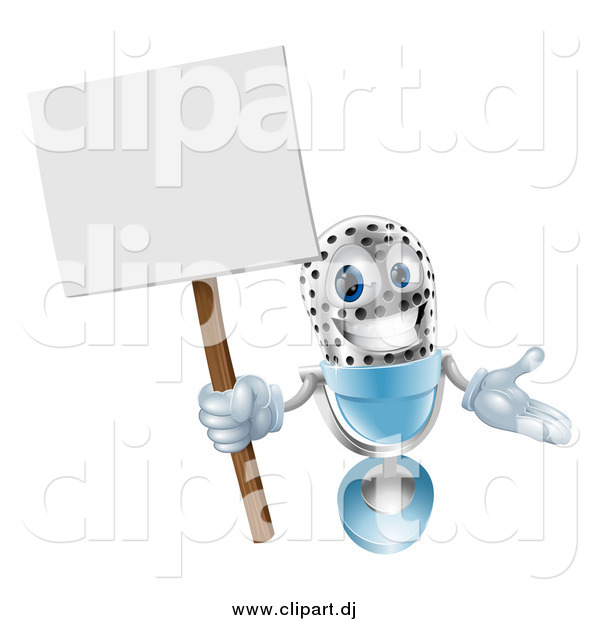 Vector Clipart of a 3d Happy Microphone Holding a Sign