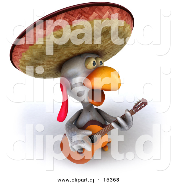 Vector Clipart of a 3d Mexican Chicken Playing a Guitar and Singing