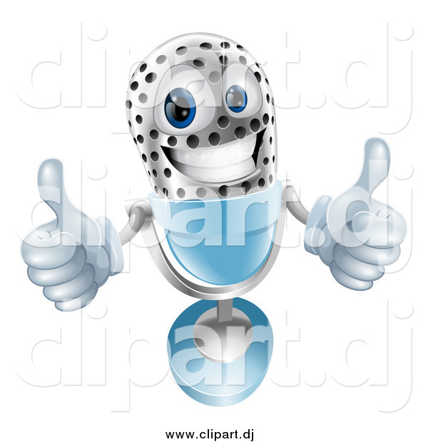 Vector Clipart of a 3d Microphone Giving Two Thumbs up