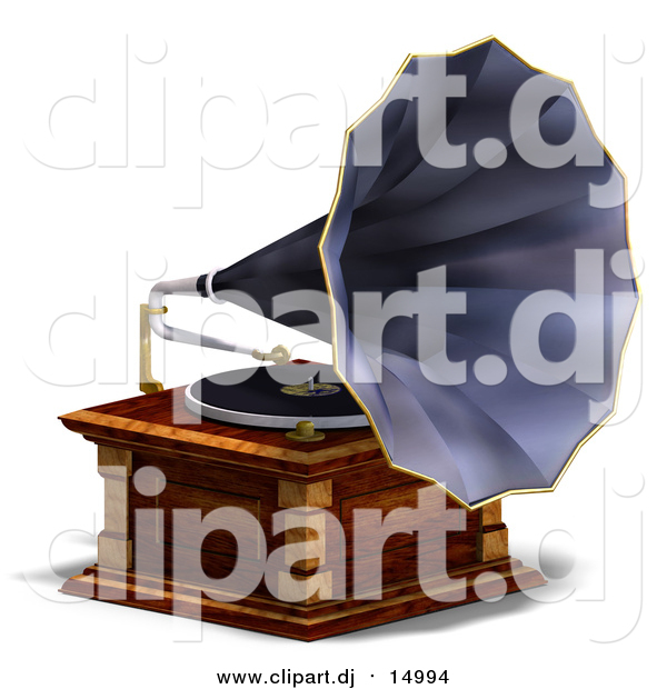 Vector Clipart of a 3d Music Phonograph