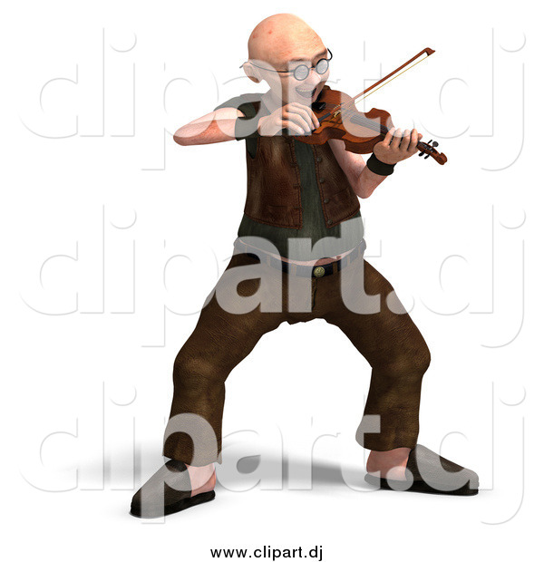 Vector Clipart of a 3d Old Senior Man Playing a Violin