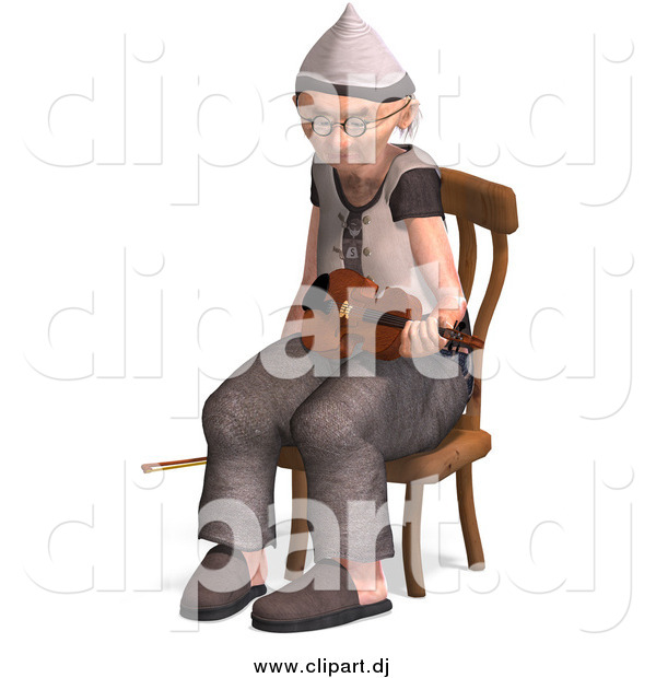 Vector Clipart of a 3d Old Senior Man Sitting with a Violin