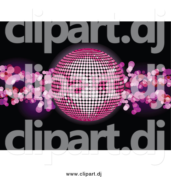 Vector Clipart of a 3d Pink Disco Ball over a Black Background with Pink Lights