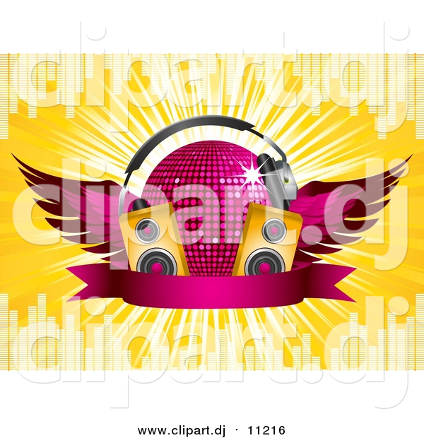 Vector Clipart of a 3d Pink Winged Disco Ball with Headphones, Music Speakers and a Blank Ribbon Banner, on a Bursting Yellow Background with Equalizer Bars
