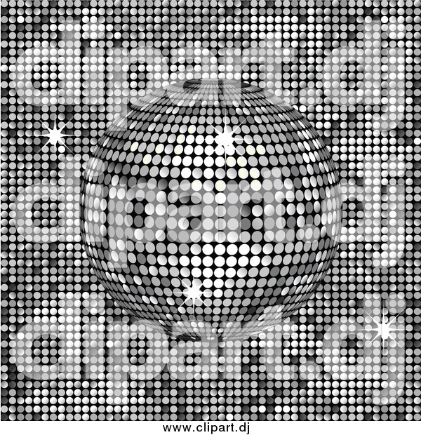 Vector Clipart of a 3d Platinum Disco Ball Spinning over a Shiny Background