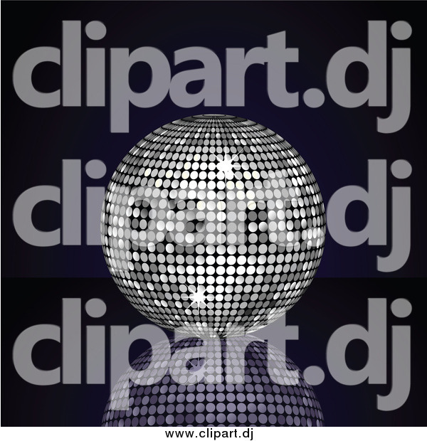 Vector Clipart of a 3d Platinum Silver Disco Ball Suspended over a Reflective Surface over a Black Background