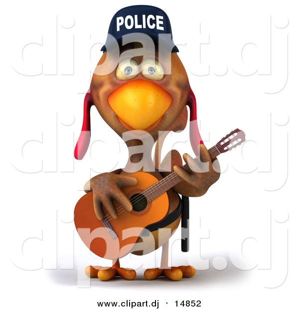 Vector Clipart of a 3d Police Chicken Guitarist