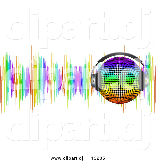 Vector Clipart of a 3d Rainbow Disco Ball Wearing Headphones over Colorful Sound Waves