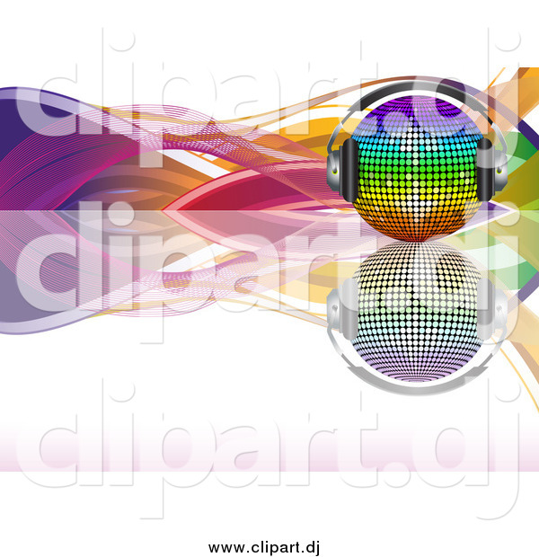 Vector Clipart of a 3d Rainbow Disco Ball with Headphones, on a Reflective Surface with Colorful Waves over White