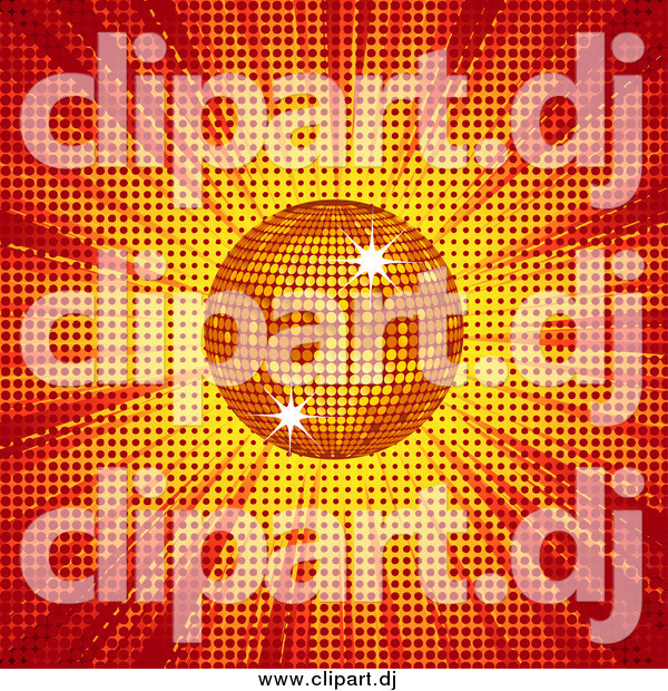Vector Clipart of a 3d Shining Orange Disco Ball over Red and Yellow Light and Halftone