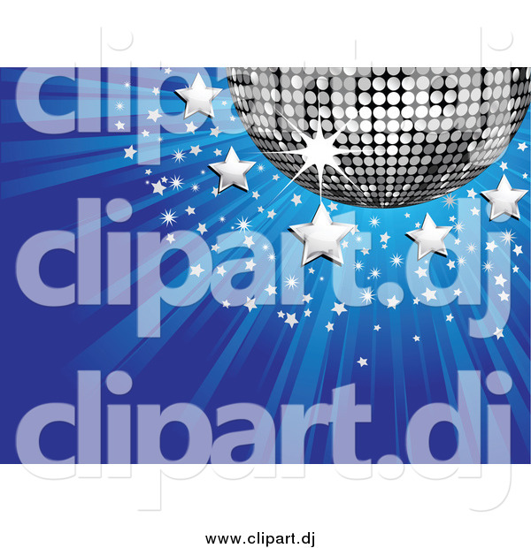 Vector Clipart of a 3d Silver Disco Ball with Stars on a Bursting Blue Background