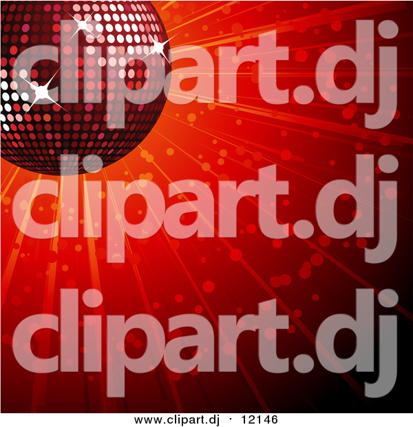 Vector Clipart of a 3d Sparkly Red Disco Ball over a Shining Background