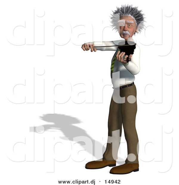 Vector Clipart of a 3d Violinist Man Resembling Einstein