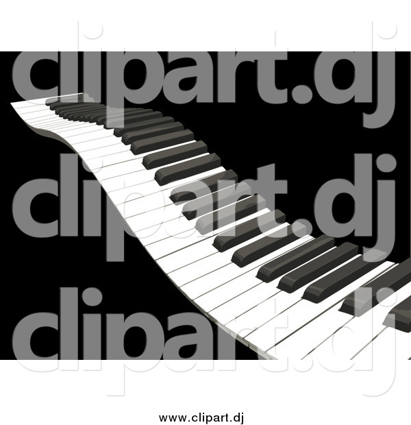 Vector Clipart of a 3d Waving Piano Keyboard with White and Black Keys, over a Black Background