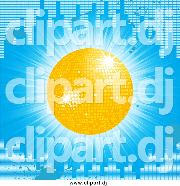 Vector Clipart of a 3d Yellow Disco Ball on a Blue Grunge Equalizer Bar Background
