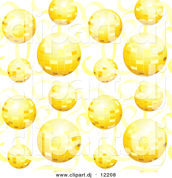 Vector Clipart of a Background of Gold Disco Balls and Ribbons