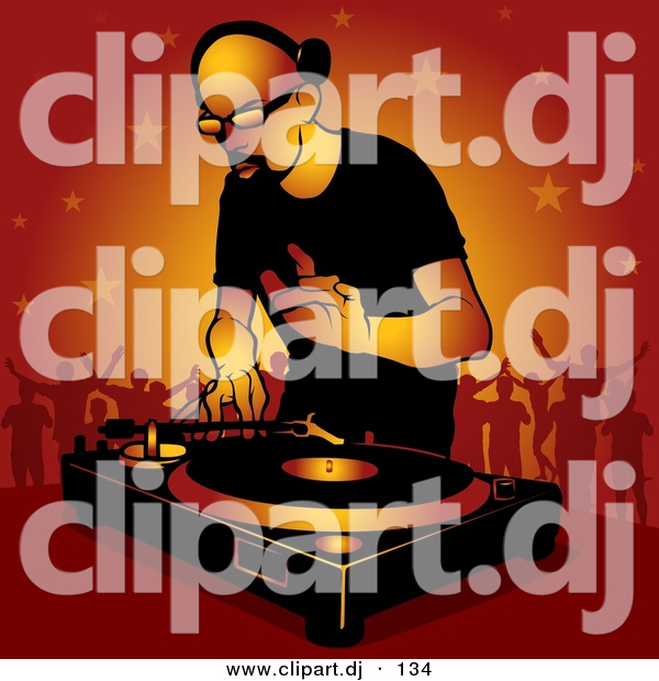 Vector Clipart of a Bald DJ Man Playing Dance Music to Crowd of Party People