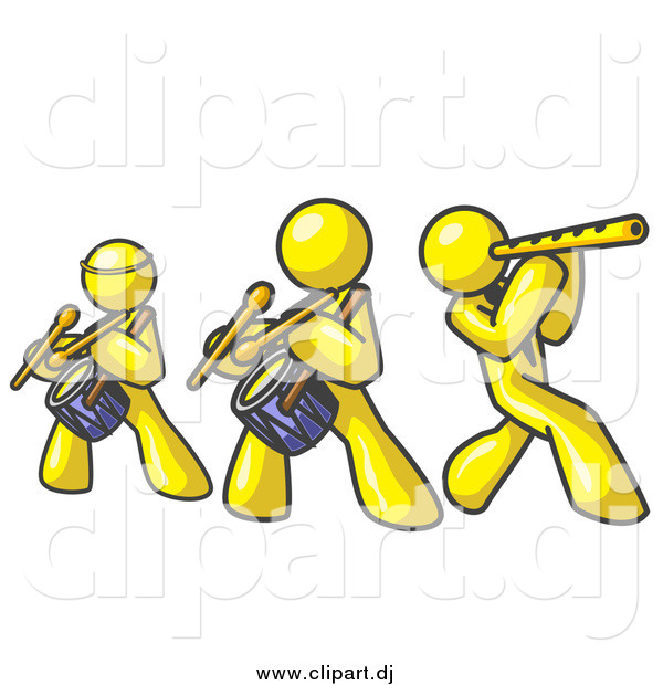 Vector Clipart of a Band of Yellow Men Playing Flutes and Drums at a Music Concert