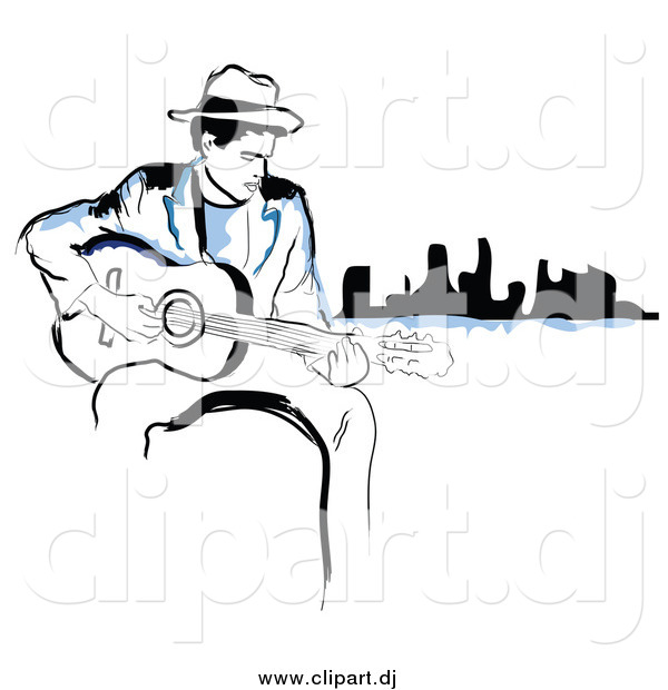 Vector Clipart of a Black and Blue Man Playing a Guitar near a City