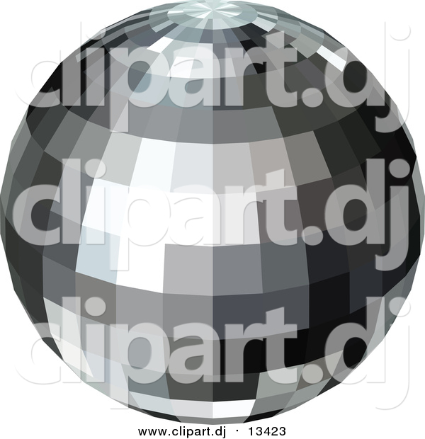 Vector Clipart of a Black and Gray Disco Ball