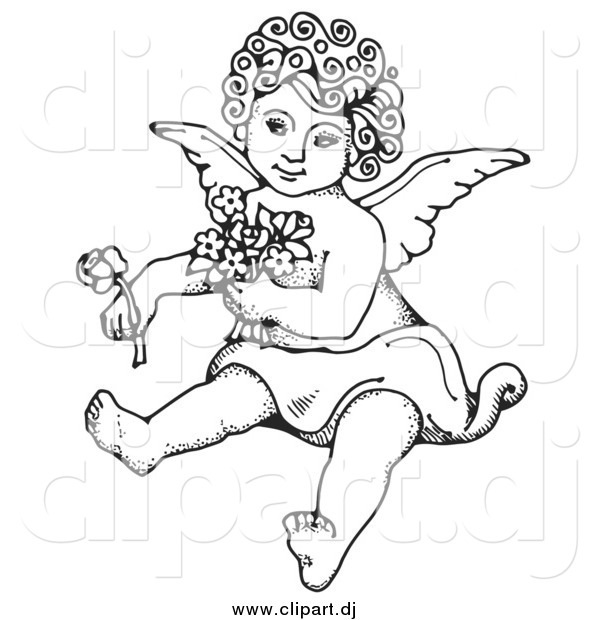Vector Clipart of a Black and White Cherub Sitting on the Ground, Holding Flowers in One Arm and a Rose out in One Hand