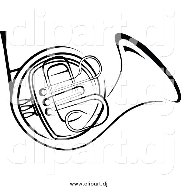 Vector Clipart of a Black and White French Horn
