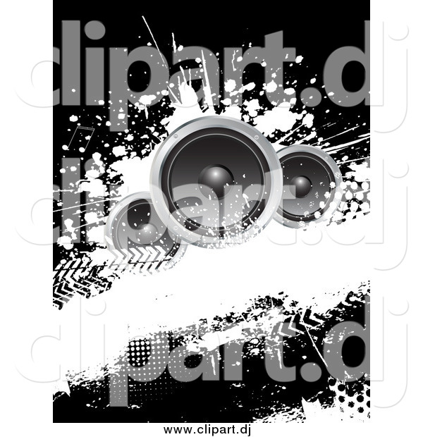 Vector Clipart of a Black and White Grungy Music Background with Three Speakers