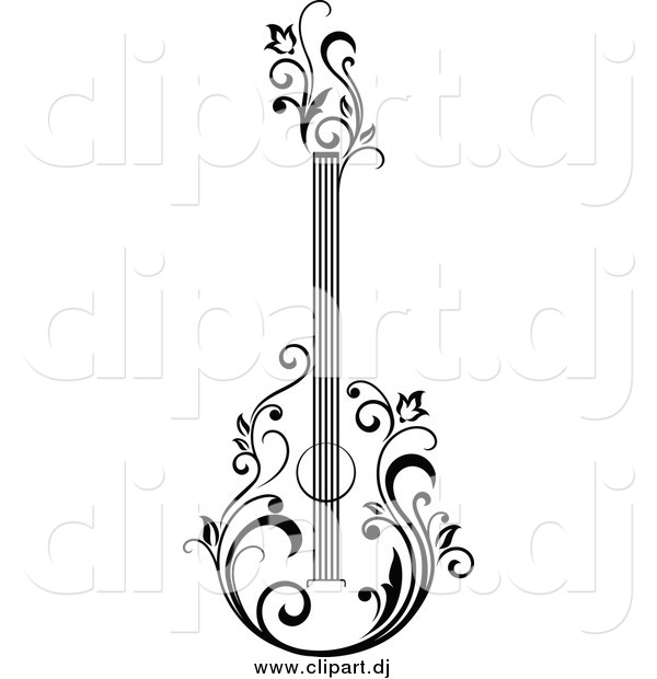 Vector Clipart of a Black and White Guitar with Vines
