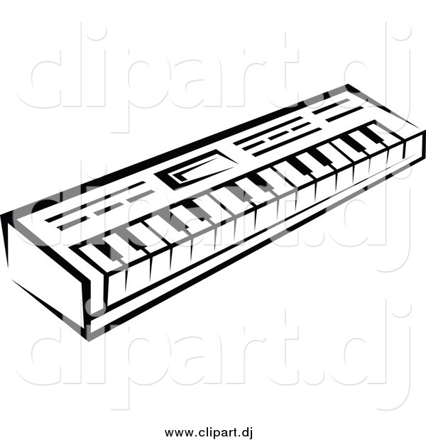 Vector Clipart of a Black and White Keyboard
