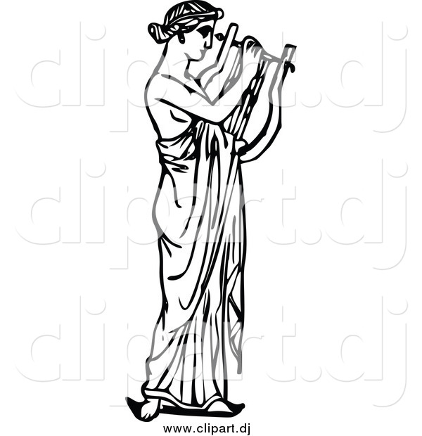 Vector Clipart of a Black and White Musican Playing a Harp