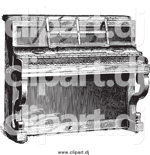 Vector Clipart of a Black and White Upright Piano