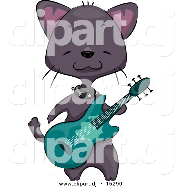 Vector Clipart of a Black Cartoon Cat Playing Green Guitar