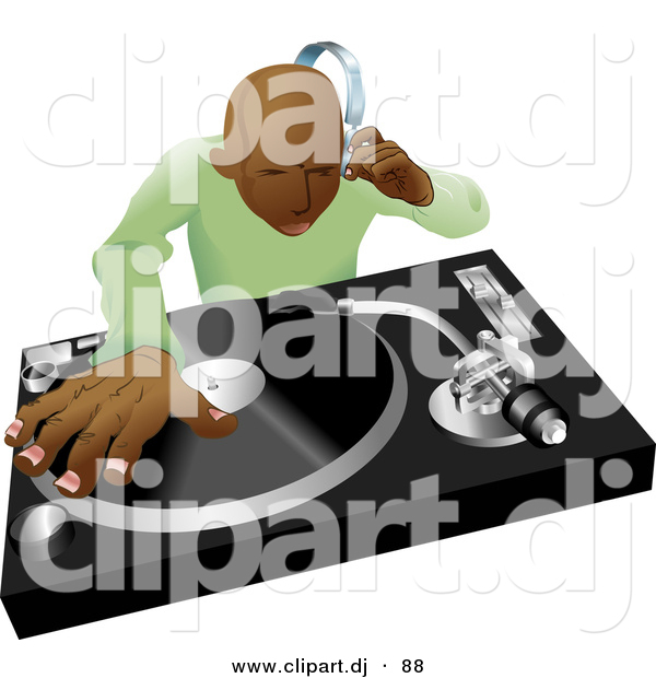 Vector Clipart of a Black DJ Mixing Hip Hop Records