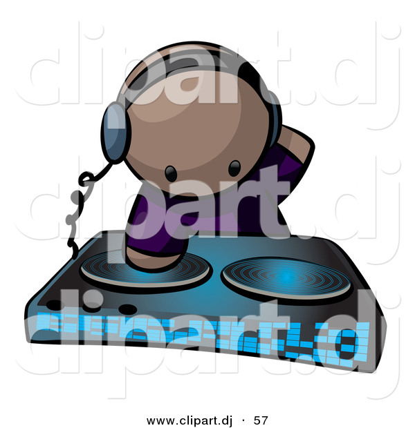 Vector Clipart of a Black Dj Mixing Records at a Dance Party