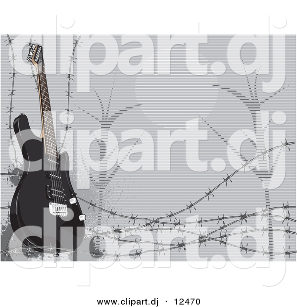 Vector Clipart of a Black Electric Guitar Featured with Barbed Wire and a Night Scene in the Background