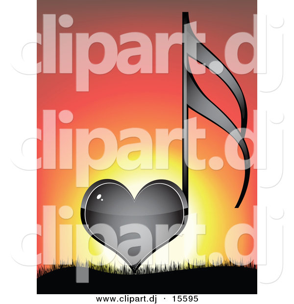 Vector Clipart of a Black Love Heart Music Note Against a Sunset Background