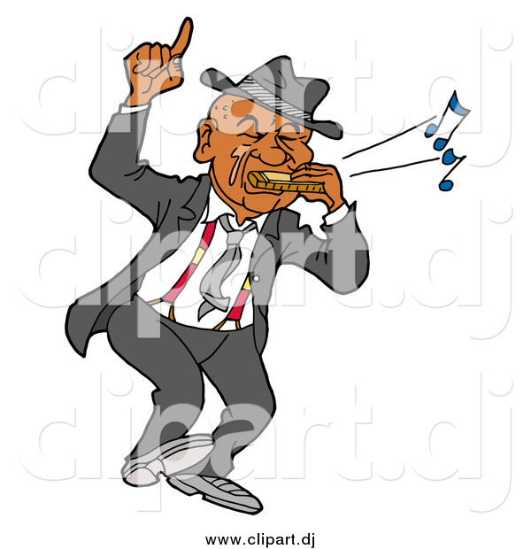 Vector Clipart of a Black Man Dancing and Playing Blues on a Harmonica