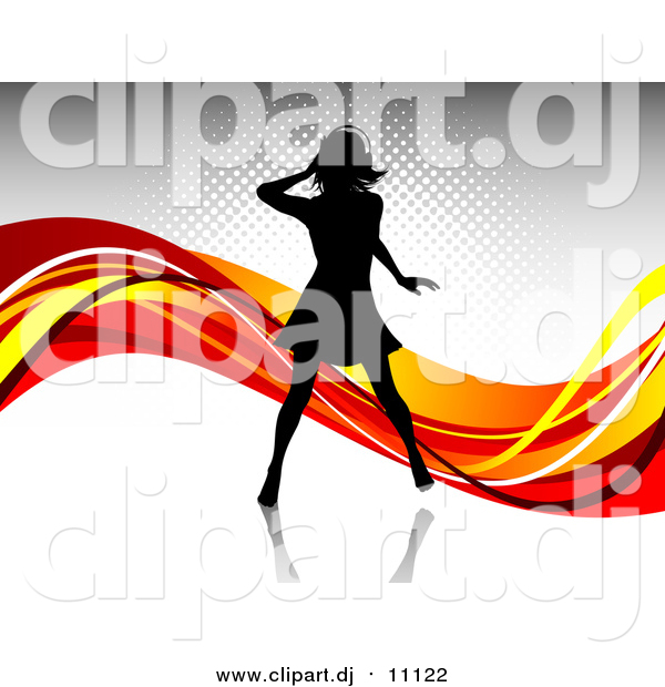 Vector Clipart of a Black Silhouetted Woman Wearing Headphones and Dancing over a Gray Background with Waves of Orange, Red and Yellow
