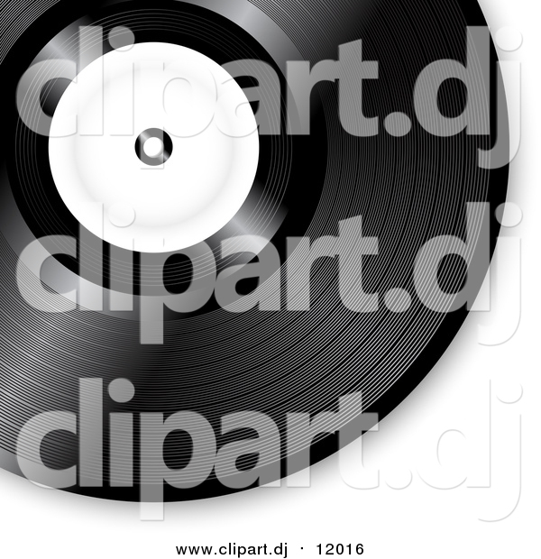 Vector Clipart of a Black Vinyl Record with a Blank White Label