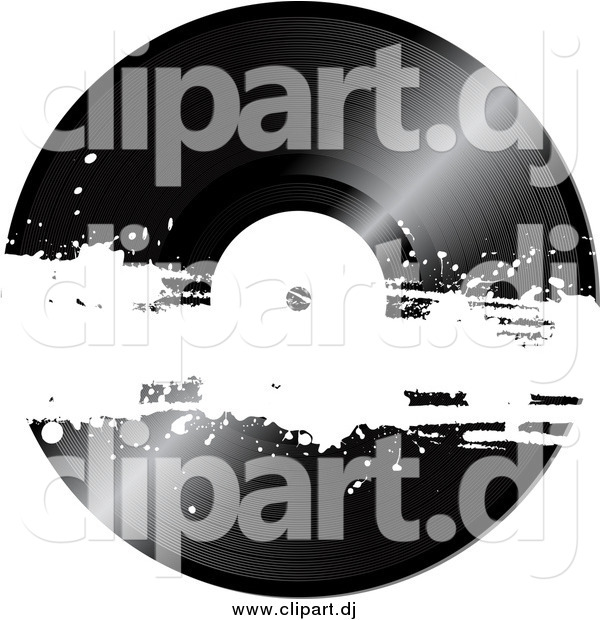 Vector Clipart of a Black Vinyl Record with White Grunge