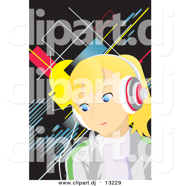 Vector Clipart of a Blond Girl Earing Music Headphones