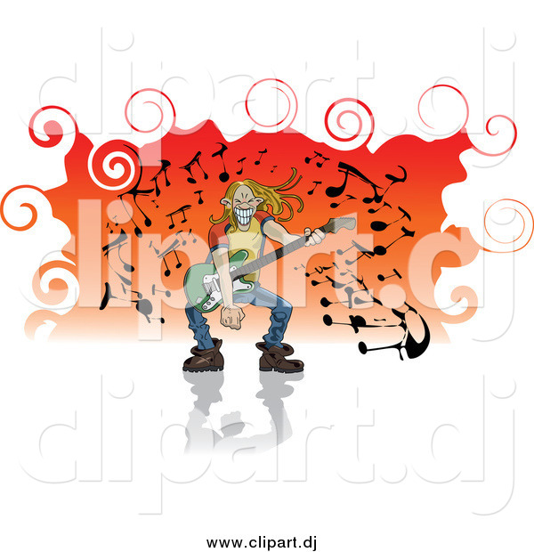 Vector Clipart of a Blond White Man with Long Hair, Grinning and Playing a Guitar