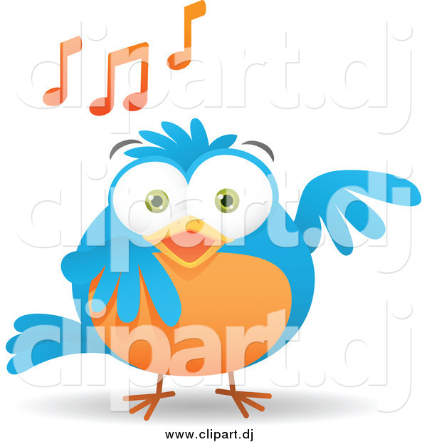 Vector Clipart of a Blue and Orange Bird Singing