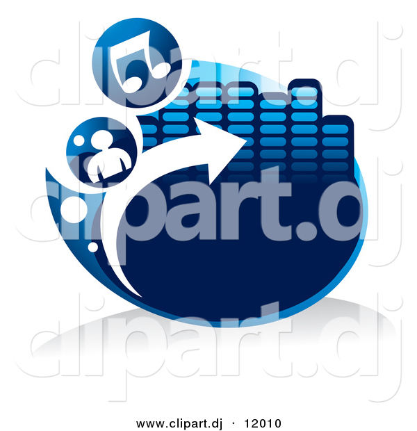 Vector Clipart of a Blue Icon with Music Notes, a Person, Arrow and Equalizer