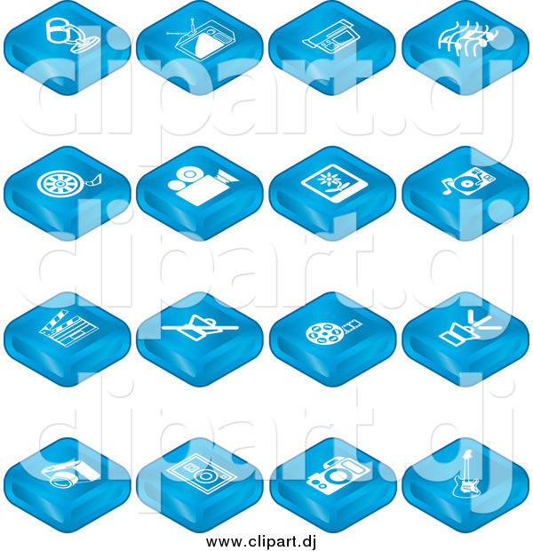 Vector Clipart of a Blue Microphone, Tv, Video Camera, Music Notes, Film Reel, Movie Camera, Polaroid, Record Player, Clapperboard, Sound Off, Sound On, Camera, Speaker, and Guitar