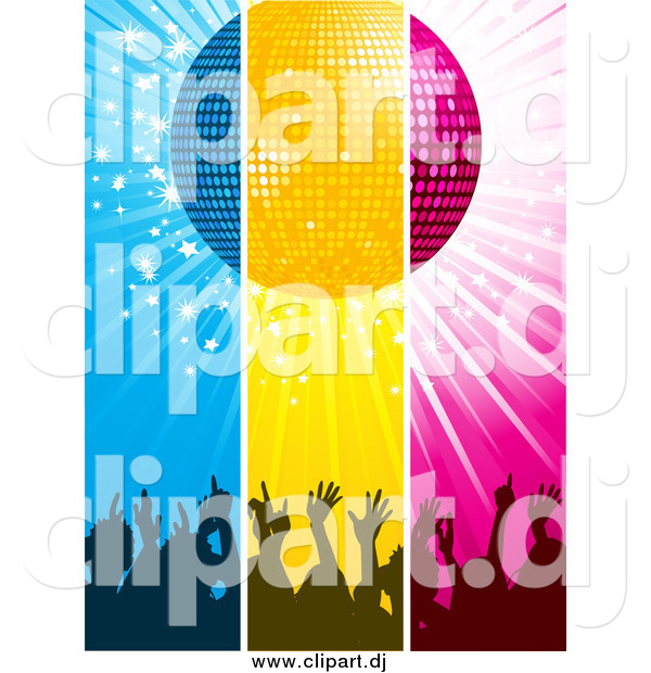 Vector Clipart of a Blue, Yellow and Pink Panels of Silhouetted Concert Crowd Hands Under a Disco Ball